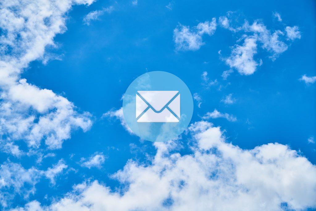 inbox symbol in clouds
