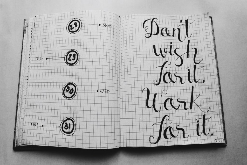 Calender for tracking a habit.  Message: Don't wish for it. Work for it.